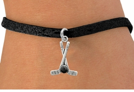 <BR>         NICKEL FREE & ADJUSTABLE BRACELET ! <BR>           WHOLESALE BLACK SUEDE BRACELET <bR>                            EXCLUSIVELY OURS!! <Br>                       AN ALLAN ROBIN DESIGN!! <BR>                 LEAD, NICKEL & CADMIUM FREE!! <BR>              W21592B - SILVER TONE HOCKEY STICKS <BR>            AND PUCK CHARM ON BLACK SUEDE BRACELET <BR>                     FROM $4.50 TO $10.00 �2015