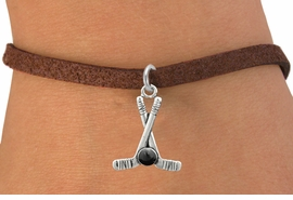 <BR>         NICKEL FREE & ADJUSTABLE BRACELET ! <BR>WHOLESALE HOCKEY BROWN SUEDE BRACELET <bR>                            EXCLUSIVELY OURS!! <Br>                       AN ALLAN ROBIN DESIGN!! <BR>                 LEAD, NICKEL & CADMIUM FREE!! <BR>              W21595B - SILVER TONE HOCKEY STICKS <BR>            AND PUCK CHARM ON BROWN SUEDE BRACELET <BR>                     FROM $4.50 TO $10.00 �2015