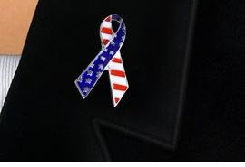 <BR>               NEW FLAG RIBBON PIN <BR>W21614P FROM $ 3.55 TO $5.85  �2015