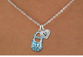 <br>ADJUSTABLE & PERSONALIZED INITIAL NECKLACE <bR>                    EXCLUSIVELY OURS!!  <Br>               AN ALLAN ROBIN DESIGN!!  <BR>                  LEAD & NICKEL FREE!!  <BR>W21799SN - DETAILED SILVER TONE & BLUE  <BR>  CRYSTAL BABY SHOE PENDANT WITH HEART   <BR>      SHAPED ALPHABET INITIAL CHARM ON   <Br>     LOBSTER CLASP CHAIN LINK NECKLACE  <BR>            FROM $7.31 TO $16.25 �2015