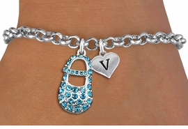<br>ADJUSTABLE & PERSONALIZED INITIAL NECKLACE <bR>                    EXCLUSIVELY OURS!!  <Br>               AN ALLAN ROBIN DESIGN!!  <BR>                  LEAD & NICKEL FREE!!  <BR>W21803SB - DETAILED SILVER TONE & BLUE <BR>  CRYSTAL BABY SHOE PENDANT WITH HEART   <BR>      SHAPED ALPHABET INITIAL CHARM ON   <Br>     LOBSTER CLASP CHAIN LINK BRACELET <BR>            FROM $7.31 TO $16.25 �2015