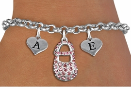 <br>ADJUSTABLE & PERSONALIZED INITIAL NECKLACE <bR>                    EXCLUSIVELY OURS!!  <Br>               AN ALLAN ROBIN DESIGN!!  <BR>                  LEAD & NICKEL FREE!!  <BR>W21805SN - DETAILED SILVER TONE & PINK <BR>  CRYSTAL BABY SHOE PENDANT WITH 2 HEART   <BR>      SHAPED ALPHABET INITIAL CHARMS ON   <Br>     LOBSTER CLASP CHAIN LINK BRACELET <BR>            FROM $8.44 TO $18.75 �2015