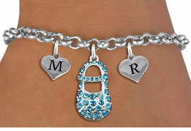 <br>ADJUSTABLE & PERSONALIZED INITIAL NECKLACE <bR>                    EXCLUSIVELY OURS!!  <Br>               AN ALLAN ROBIN DESIGN!!  <BR>                  LEAD & NICKEL FREE!!  <BR>W21806SN - DETAILED SILVER TONE & BLUE <BR>  CRYSTAL BABY SHOE PENDANT WITH 2 HEART   <BR>      SHAPED ALPHABET INITIAL CHARMS ON   <Br>     LOBSTER CLASP CHAIN LINK BRACELET <BR>            FROM $8.44 TO $18.75 �2015