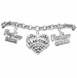 "<BR>         WHOLESALE SPORTS FASHION JEWELRY    <BR>                COMPLETELY HYPOALLERGENIC    <BR>       W21820B2 - CRYSTAL AND SILVER TONE    <BR>             ""FLAG CORP"" HEART CHARM WITH   <BR>    FLAG CORP ROCKS! AND FLAG CORP CHICK!  <BR>  ON SILVER TONE CHAIN LINK LOBSTER CLASP   <BR>     BRACELET FROM $10.75 TO $16.25 �2015"