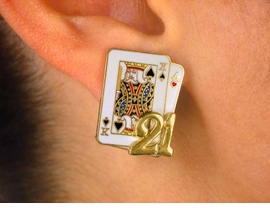 W2547E-NEW! BLACKJACK<BR>        FASHION EARRINGS<BR>          AS LOW AS $3.90