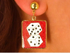 W2995E-NEW! PAIR OF DICE <BR>     GOLD FINISH EARRINGS<BR>           AS LOW AS $4.85