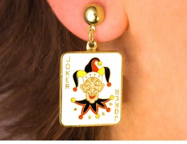 W2996E-JOKING JOKER PIERCED<BR>          GOLD FINISH EARRINGS<BR>                 AS LOW AS $4.85