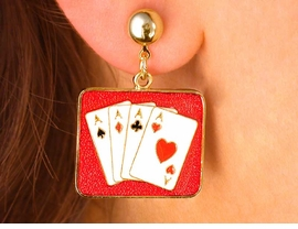 W2998E- ALL ACE'S GOLDTONE<BR>        PIERCED CARD EARRINGS<BR>                AS LOW AS $4.85