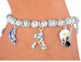 W3021B - NEW! ICE HOCKEY<BR>   BEADED STRETCH CHARM<BR> BRACELET  AS LOW AS $3.15