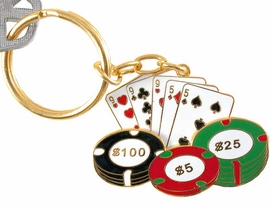 "<br>     W3571KC-NEW! GOLD FINISH<br>""FULL HOUSE"" POKER KEY CHAIN<br>                AS LOW AS $3.25"