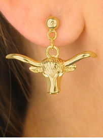 W4346E-NEW! GOLD FINISH<BR>       LONGHORN EARRINGS<br>             AS LOW AS $3.15
