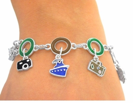 W4735B - WORLD TRAVEL RINGLET<Br>     LINK MAGNETIC CLASP CHARM<BR>    BRACELET FROM $3.35 TO $7.50