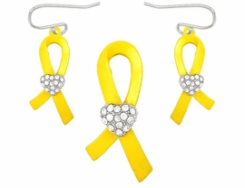 "W5021PE-NEW! ""SUPPORT OUR TROOPS""<BR>      YELLOW RIBBON & CRYSTAL HEART<BR>            PENDANT/PIN & EARRING SET<BR>                          AS LOW AS $3.90"