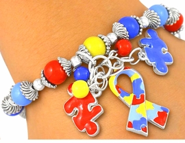 <br>W5176B - SILVER FINISH AUTISM<BR>    AWARENESS STRETCH CHARM<BR>  BRACELET FROM $6.75 TO $15.00<BR>                             ©2012