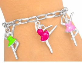 W5527B - DANCING BALLERINA CHARM<BR>      CHAIN LOBSTER CLASP BRACELET<BR>                       AS LOW AS $2.40