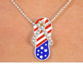 <br>   W5564N - GREAT AUSTRIAN CRYSTAL<BR>AMERICAN FLAG FLIP-FLOP BALL CHAIN<BR>         NECKLACE FROM $3.35 TO $7.50
