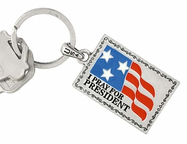 """W5876KC - NEW! """"I PRAY FOR PRESIDENT""""<br> SILVER FINISH AMERICAN FLAG KEYCHAIN<Br>                          AS LOW AS $2.20"""