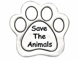 "W8766P - POLISHED SILVER FINISH<Br>  ""SAVE THE ANIMALS"" PAW PRINT<br>           TACK PIN AS LOW AS $.95"