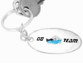 "<bR> W9409KC - ""GO TEAM"" 3-D SWIMMING<br>SILVER TONE KEY CHAIN AS LOW AS $1.99<br>   EXCLUSIVELY OURS! WE ARE THE ONLY<Br>                 MANUFACTURER! �2005"