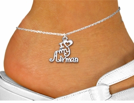 "<bR>   WHOLESALE AIR FORCE ANKLET JEWELRY <BR>                   EXCLUSIVELY OURS!! <BR>              AN ALLAN ROBIN DESIGN!! <BR>        CADMIUM, LEAD & NICKEL FREE!! <BR>     W1501SAK - BEAUTIFUL SILVER TONE <Br>    ""I LOVE MY AIRMAN"" CHARM & ANKLET <BR>            FROM $3.35 TO $8.00 �2013"