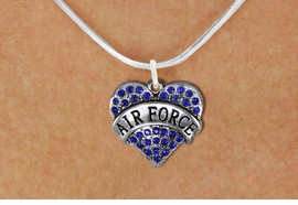 "<BR>       WHOLESALE AIR FORCE JEWELRY <bR>                   EXCLUSIVELY OURS!! <Br>              AN ALLAN ROBIN DESIGN!! <BR>     CLICK HERE TO SEE 1000+ EXCITING <BR>           CHANGES THAT YOU CAN MAKE! <BR>        LEAD, NICKEL & CADMIUM FREE!! <BR> W1477SN - SILVER TONE ""AIR FORCE"" BLUE <BR>     CRYSTAL HEART CHARM AND NECKLACE <BR>            FROM $5.55 TO $9.00 �2013"