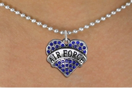 "<BR>       WHOLESALE AIR FORCE JEWELRY <bR>                   EXCLUSIVELY OURS!! <Br>              AN ALLAN ROBIN DESIGN!! <BR>     CLICK HERE TO SEE 1000+ EXCITING <BR>           CHANGES THAT YOU CAN MAKE! <BR>        LEAD, NICKEL & CADMIUM FREE!! <BR> W1477SN - SILVER TONE ""AIR FORCE"" BLUE <BR>     CRYSTAL HEART CHARM AND NECKLACE <BR>            FROM $5.90 TO $9.35 �2013"