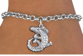 <BR>  WHOLESALE ANIMAL CHARM BRACELET <bR>                EXCLUSIVELY OURS!! <Br>           AN ALLAN ROBIN DESIGN!! <BR>  CLICK HERE TO SEE 1000+ EXCITING <BR>        CHANGES THAT YOU CAN MAKE! <BR>     LEAD, NICKEL & CADMIUM FREE!! <BR> W1436SB - SILVER TONE CLEAR CRYSTAL <BR> CURLED CROCODILE CHARM & BRACELET <BR>         FROM $5.50 TO $9.35 �2013