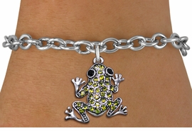 <BR>  WHOLESALE ANIMAL CHARM BRACELET <bR>                EXCLUSIVELY OURS!! <Br>           AN ALLAN ROBIN DESIGN!! <BR>  CLICK HERE TO SEE 1000+ EXCITING <BR>        CHANGES THAT YOU CAN MAKE! <BR>     LEAD, NICKEL & CADMIUM FREE!! <BR> W1442SB - SILVER TONE, JET AND LIME <BR> GREEN CRYSTAL FROG CHARM & BRACELET <BR>         FROM $5.50 TO $9.35 �2013
