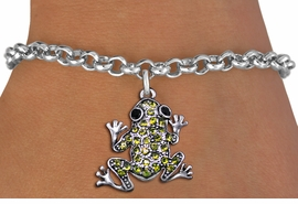 <BR>  WHOLESALE ANIMAL CHARM BRACELET <bR>                EXCLUSIVELY OURS!! <Br>           AN ALLAN ROBIN DESIGN!! <BR>  CLICK HERE TO SEE 1000+ EXCITING <BR>        CHANGES THAT YOU CAN MAKE! <BR>     LEAD, NICKEL & CADMIUM FREE!! <BR> W1442SB - SILVER TONE, JET AND LIME <BR> GREEN CRYSTAL FROG CHARM & BRACELET <BR>         FROM $5.15 TO $9.00 �2013