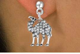 <BR> WHOLESALE ANIMAL FASHION EARRINGS <bR>               EXCLUSIVELY OURS!! <Br>          AN ALLAN ROBIN DESIGN!! <BR>    LEAD, NICKEL & CADMIUM FREE!! <BR> W1511SE - ANTIQUED SILVER TONE AND <BR>  GENUINE CLEAR CRYSTAL CAMEL CHARM <BR>  EARRINGS FROM $5.40 TO $10.45 �2013