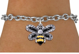 <BR>        WHOLESALE ANIMAL JEWELRY <bR>                EXCLUSIVELY OURS!! <Br>           AN ALLAN ROBIN DESIGN!! <BR>  CLICK HERE TO SEE 1000+ EXCITING <BR>        CHANGES THAT YOU CAN MAKE! <BR>     LEAD, NICKEL & CADMIUM FREE!! <BR>   W1439SB - SILVER TONE WITH CLEAR <BR> CRYSTAL BUMBLEBEE CHARM & BRACELET <BR>         FROM $5.50 TO $9.35 �2013