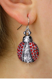 <BR>      WHOLESALE ANIMAL JEWELRY <bR>              EXCLUSIVELY OURS!! <Br>         AN ALLAN ROBIN DESIGN!! <BR>   LEAD, NICKEL & CADMIUM FREE!! <BR>  W1441SE - SILVER TONE WITH RED <BR> CRYSTAL LADYBUG CHARM EARRINGS <BR>      FROM $5.40 TO $10.45 �2013