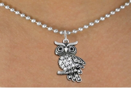 <BR>   WHOLESALE ANIMAL NECKLACE JEWELRY <bR>                   EXCLUSIVELY OURS!! <Br>              AN ALLAN ROBIN DESIGN!! <BR>     CLICK HERE TO SEE 1000+ EXCITING <BR>           CHANGES THAT YOU CAN MAKE! <BR>        LEAD, NICKEL & CADMIUM FREE!! <BR>   W1510SN - ANTIQUED SILVER TONE AND <BR>    AUSTRIAN CLEAR CRYSTAL OWL CHARM  <BR>    NECKLACE FROM $5.90 TO $9.35 �2013