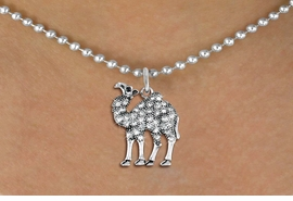 <BR>   WHOLESALE ANIMAL NECKLACE JEWELRY <bR>                   EXCLUSIVELY OURS!! <Br>              AN ALLAN ROBIN DESIGN!! <BR>     CLICK HERE TO SEE 1000+ EXCITING <BR>           CHANGES THAT YOU CAN MAKE! <BR>        LEAD, NICKEL & CADMIUM FREE!! <BR>   W1511SN - ANTIQUED SILVER TONE AND <BR>  AUSTRIAN CLEAR CRYSTAL CAMEL CHARM  <BR>    NECKLACE FROM $5.90 TO $9.35 �2013