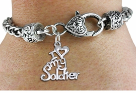 "<bR>  WHOLESALE ARMED FORCES CHARM BRACELET <BR>                     EXCLUSIVELY OURS!! <BR>                AN ALLAN ROBIN DESIGN!! <BR>          CADMIUM, LEAD & NICKEL FREE!! <BR>        W1504SB - BEAUTIFUL SILVER TONE  <BR>  ""I LOVE MY SOLDIER"" CHARM & HEART CLASP <BR>      BRACELET FROM $4.64 TO $8.75 �2013"