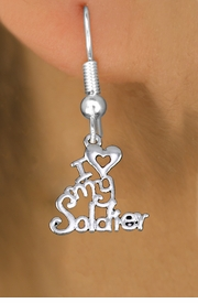 "<br> WHOLESALE ARMED FORCES EARRINGS <bR>                 EXCLUSIVELY OURS!! <BR>            AN ALLAN ROBIN DESIGN!! <BR>      CADMIUM, LEAD & NICKEL FREE!! <BR>    W1504SE - BEAUTIFUL SILVER TONE <Br>  ""I LOVE MY SOLDIER"" CHARM EARRINGS <BR>          FROM $3.65 TO $8.40 �2013"