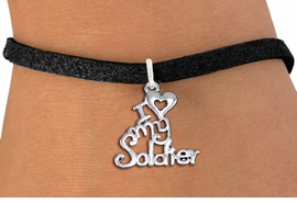 "<br> WHOLESALE ARMED FORCES FASHION BRACELET <bR>                    EXCLUSIVELY OURS!!<BR>               AN ALLAN ROBIN DESIGN!!<BR>      CLICK HERE TO SEE 1000+ EXCITING<BR>            CHANGES THAT YOU CAN MAKE!<BR>         CADMIUM, LEAD & NICKEL FREE!!<BR>     W1504SB - BEAUTIFUL SILVER TONE <Br> ""I LOVE MY SOLDIER"" CHARM & BRACELET <BR>             FROM $4.15 TO $8.00 �2013"