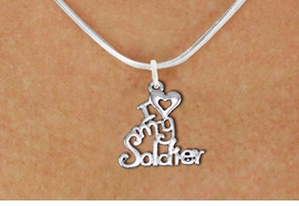 "<br>WHOLESALE ARMED FORCES JEWELRY <bR>                   EXCLUSIVELY OURS!! <BR>              AN ALLAN ROBIN DESIGN!! <BR>     CLICK HERE TO SEE 1000+ EXCITING <BR>           CHANGES THAT YOU CAN MAKE! <BR>        CADMIUM, LEAD & NICKEL FREE!! <BR>     W1504SN - BEAUTIFUL SILVER TONE <BR>    ""I LOVE MY SOLDIER"" CHARM & NECKLACE <BR>             FROM $4.50 TO $8.35 �2013"
