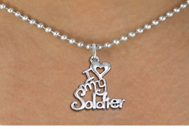 "<br>WHOLESALE ARMED FORCES JEWELRY <bR>                   EXCLUSIVELY OURS!! <BR>              AN ALLAN ROBIN DESIGN!! <BR>     CLICK HERE TO SEE 1000+ EXCITING <BR>           CHANGES THAT YOU CAN MAKE! <BR>        CADMIUM, LEAD & NICKEL FREE!! <BR>     W1504SN - BEAUTIFUL SILVER TONE <BR>    ""I LOVE MY SOLDIER"" CHARM & NECKLACE <BR>             FROM $4.85 TO $8.30 �2013"