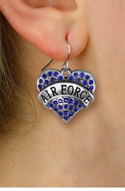 "<BR>   WHOLESALE ARMED FORCES JEWELRY <bR>              EXCLUSIVELY OURS!! <Br>         AN ALLAN ROBIN DESIGN!! <BR>   LEAD, NICKEL & CADMIUM FREE!! <BR>  W1477SE - SILVER TONE ""AIR FORCE"" <BR> BLUE CRYSTAL HEART CHARM EARRINGS <BR>      FROM $5.40 TO $10.45 �2013"