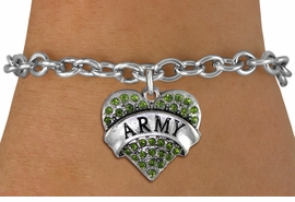 "<BR>  WHOLESALE ARMY BRACELET JEWELRY <bR>                EXCLUSIVELY OURS!! <Br>           AN ALLAN ROBIN DESIGN!! <BR>  CLICK HERE TO SEE 1000+ EXCITING <BR>        CHANGES THAT YOU CAN MAKE! <BR>     LEAD, NICKEL & CADMIUM FREE!! <BR> W1480SB - SILVER TONE ""ARMY"" GREEN <BR>    CRYSTAL HEART CHARM & BRACELET <BR>         FROM $5.50 TO $9.35 �2013"