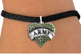 "<BR>  WHOLESALE ARMY BRACELET JEWELRY <bR>                EXCLUSIVELY OURS!! <Br>           AN ALLAN ROBIN DESIGN!! <BR>  CLICK HERE TO SEE 1000+ EXCITING <BR>        CHANGES THAT YOU CAN MAKE! <BR>     LEAD, NICKEL & CADMIUM FREE!! <BR> W1480SB - SILVER TONE ""ARMY"" GREEN <BR>    CRYSTAL HEART CHARM & BRACELET <BR>         FROM $5.15 TO $9.00 �2013"