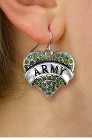 "<BR>  WHOLESALE ARMY CHARM JEWELRY <bR>              EXCLUSIVELY OURS!! <Br>         AN ALLAN ROBIN DESIGN!! <BR>   LEAD, NICKEL & CADMIUM FREE!! <BR> W1480SE - SILVER TONE ""ARMY"" GREEN <BR>    CRYSTAL HEART CHARM EARRINGS <BR>      FROM $5.40 TO $10.45 �2013"