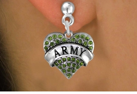 "<BR>     WHOLESALE ARMY EARRINGS<bR>              EXCLUSIVELY OURS!! <Br>         AN ALLAN ROBIN DESIGN!! <BR>   LEAD, NICKEL & CADMIUM FREE!! <BR> W1480SE - SILVER TONE ""ARMY"" GREEN <BR>    CRYSTAL HEART CHARM EARRINGS <BR>      FROM $5.40 TO $10.45 �2013"