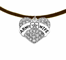 "<Br>            WHOLESALE  ARMY WIFE JEWELRY  <BR>                         AN ALLAN ROBIN DESIGN!! <Br>                   CADMIUM, LEAD & NICKEL FREE!!  <Br>                W1809N4 ""ARMY WIFE"" HEART  <BR>CHARM, ADJUSTABLE BROWN SUEDE NECKLACE <BR>                    FROM $7.50 TO $9.50 �2016"