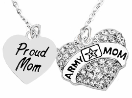 "<Br>              WHOLESALE  ARMY MOM JEWELRY  <BR>                         AN ALLAN ROBIN DESIGN!! <Br>                   CADMIUM, LEAD & NICKEL FREE!!  <Br>                     W320-1808N1  ""PROUD MOM< ARMY MOM"" HEARTS  <BR>  CHARMS ON HEART ADJUSTABLE NECKLACE <BR>                                       $9.50 �2016"
