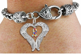 <BR>      WHOLESALE AUTISM JEWELRY<bR>               EXCLUSIVELY OURS!! <BR>             LEAD & NICKEL FREE!! <BR>W19702B - GUARDIAN ANGEL WINGS <Br>AND AUTISM AWARENESS RIBBON <BR>CHARM & HEART CLASP BRACELET <BR>     FROM $6.19 TO $13.75 �2012