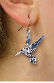 <BR>  WHOLESALE BIRD WATCHER JEWELRY <bR>              EXCLUSIVELY OURS!! <Br>         AN ALLAN ROBIN DESIGN!! <BR>   LEAD, NICKEL & CADMIUM FREE!! <BR>  W1440SE - SILVER TONE WITH CLEAR <BR> CRYSTAL HUMMINGBIRD CHARM EARRINGS <BR>      FROM $5.40 TO $10.45 �2013