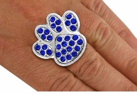 <BR>      WHOLESALE BLUE PAW RING<Br>            LEAD & NICKEL FREE!! <Br> W20183R - SILVER TONE & GENIUNE <BR>   AUSTRIAN FACETED BLUE CRYSTAL <Br>    LARGE PAW PRINT STRETCH RING <BR>            FROM $5.63 TO $12.50