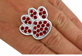 <BR>      WHOLESALE BURGUNDY PAW RING<Br>            LEAD & NICKEL FREE!! <Br> W20186R - SILVER TONE & GENIUNE <BR> AUSTRIAN FACETED BURGUNDY CRYSTAL <Br>    LARGE PAW PRINT STRETCH RING <BR>            FROM $5.63 TO $12.50